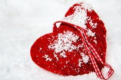 Red woolen heart Stock Photos