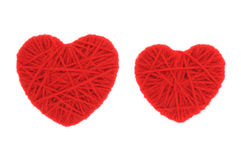 Red woolen hearts Royalty Free Stock Image