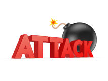 Red word ATTACK and black bomb. Stock Images