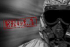Red word EBOLA on black and white background Royalty Free Stock Photography