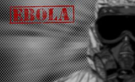 Red word EBOLA on black and white background. Royalty Free Stock Images