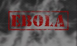 Red word EBOLA on black and white background. Stock Image