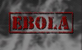 Red word EBOLA on black and white background. Stock Photography