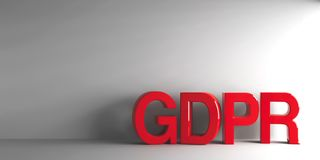 Red word GDPR. General Data Protection Regulation - on grey background, three-dimensional rendering, 3D illustration Stock Images