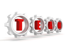 Red word letters TEAM and white work connect gears Royalty Free Stock Photography