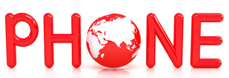 Red word PHONE with 3D globe. On a white background stock illustration