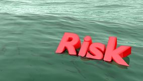 Red word risk swimming in the ocean sinking Stock Photos