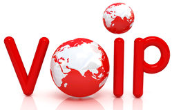 Red word VoIP with 3D globe. On a white background Royalty Free Stock Photography