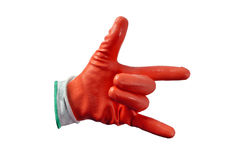 Red work gloves isolated Stock Images