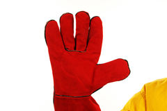 Red worker glove Royalty Free Stock Image