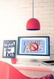 Red workspace with computer showing popup ads blocker Stock Photos