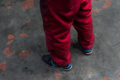 Red workwear pants on grunge concrete background royalty free stock image