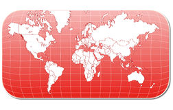Red world map. On white background Stock Photo