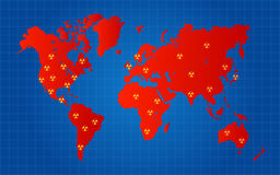 Red World Map Nuclear Radioactive Attack Locations Royalty Free Stock Photo