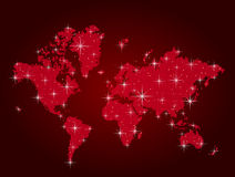 Red world map in points Stock Photo