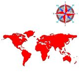Red world map with wind rose Stock Photo