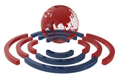 Red worldwide internet connection. 3D render of a worldwide internet connection. Blue and red wireless symbol arranged around the earth symbol Royalty Free Stock Images