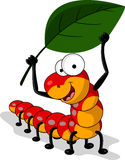 Red worm cartoon with leaf Royalty Free Stock Photography