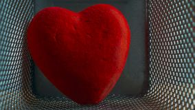 Red Wounded Velvet Heart in a Mesh Cage. Love, Home Violence, Loneliness, Freedom and Heartache Concept.  royalty free stock image