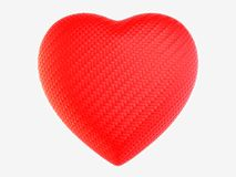 Red woven fiber heart shape isolated. On white Stock Photography
