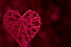 Red Woven Heart with Copy Space Stock Image