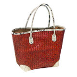 Red woven shopping bag Stock Photo