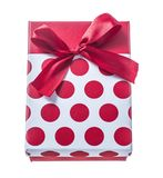 Red wrapped gift box isolated on white.  Stock Photography