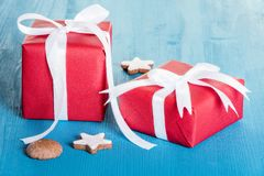 Red wrapped gift boxes Stock Photo