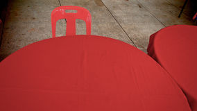 Red Wrapper. Table and Chair stock photos