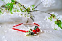 Red wreath with cherry blossom. Flower crown Royalty Free Stock Image