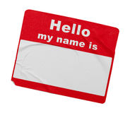 Red Wrinkled Hello Tag royalty free stock photography