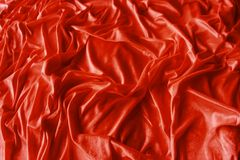 Red wrinkled silk fabric Royalty Free Stock Images