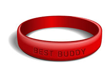 Red wristband with the inscription - BEST BUDDY. Red plastic wristband with the inscription - BEST BUDDY. Friendship band on white background. Realistic vector vector illustration