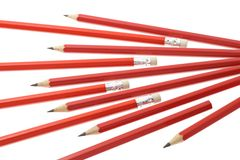Red writing pencils Royalty Free Stock Image