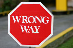Red Wrong Way Sign. A red colored wrong way sign Stock Images