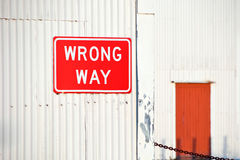 Red Wrong Way Sign Royalty Free Stock Photography