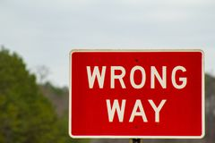 Red Wrong Way Sign on the Road stock photos