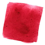 Red wry watercolor square. With stains. Abstract background. Element for your design Royalty Free Stock Photography