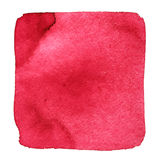 Red wry watercolor square. With stains. Abstract element for your design Stock Photo