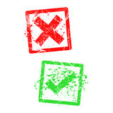 Red x and green check mark, grungy rubber stamp Royalty Free Stock Images