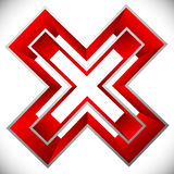 Red X letter, X shape. Red cross icon for negative, decline, err Royalty Free Stock Image