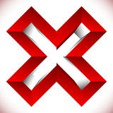 Red X letter, X shape. Red cross icon for negative, decline, err Royalty Free Stock Photos