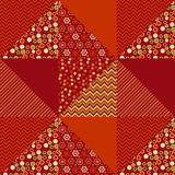 Red xmas abstract background in patchwork style. Seamless pattern vector illustration. repeatable peasant style patch fabric motif Stock Photography