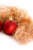 Red xmas ball. Red christmas ball with golden  spangle Royalty Free Stock Photo