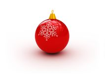 Red xmas ball. 3d illustration of red xmas ball isolated on white background royalty free illustration