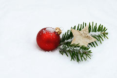 Red xmas bauble Stock Images