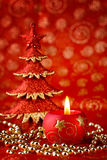 Red xmas candle Royalty Free Stock Images