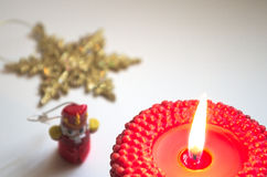 Red xmas candle Royalty Free Stock Image