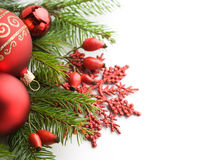 Red xmas decorations on white background Stock Photo