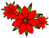 Red Xmas Poinsettia Clip Art Stock Image